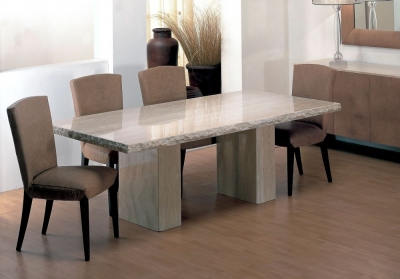 Stone International Roma Chiseled Edge Marble Dining Table