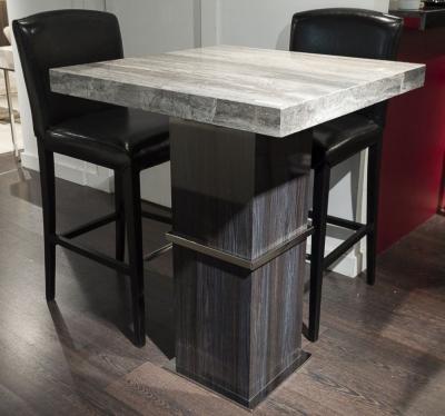 Stone International Saturn Light Marble and Stainless Steel Square Pub Table