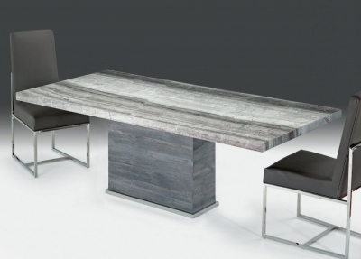 Stone International Saturn Extra Light Dining Table - Marble and Polished Stainless Steel