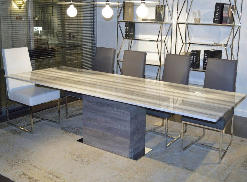 Stone International Saturn Marble and Polished Stainless Steel Extending Dining Table