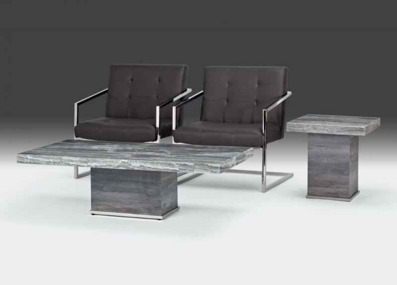 Stone International Saturn Light Occasional Tables - Marble and Polished Stainless Steel