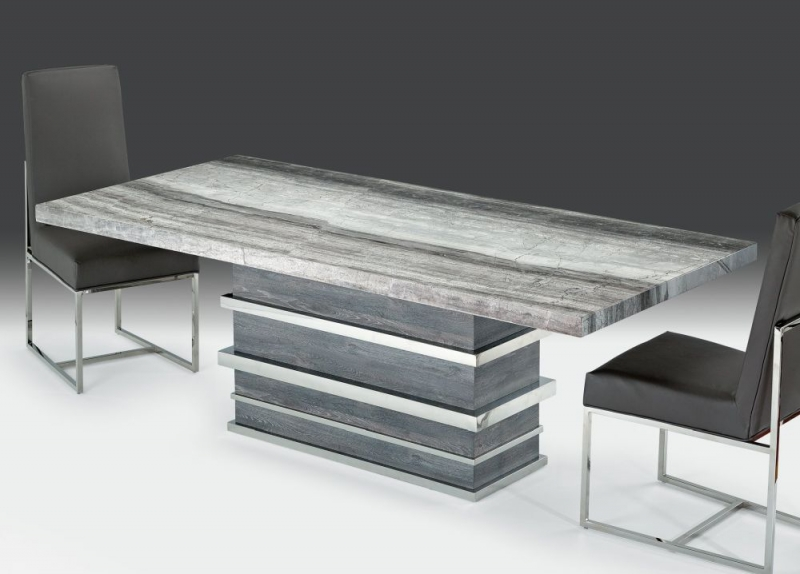 Stone International Saturn Dining Table - Marble and Polished Stainless Steel