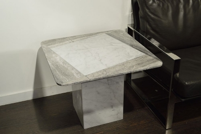 Stone International Shutter Two Tone Marble Lamp Table