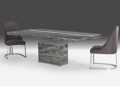 Stone International Soho Dining Table - Marble and Polished Stainless Steel