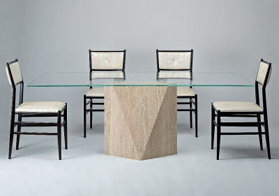 Stone International Freedom Marble with Glass Top Rectangular Dining Table