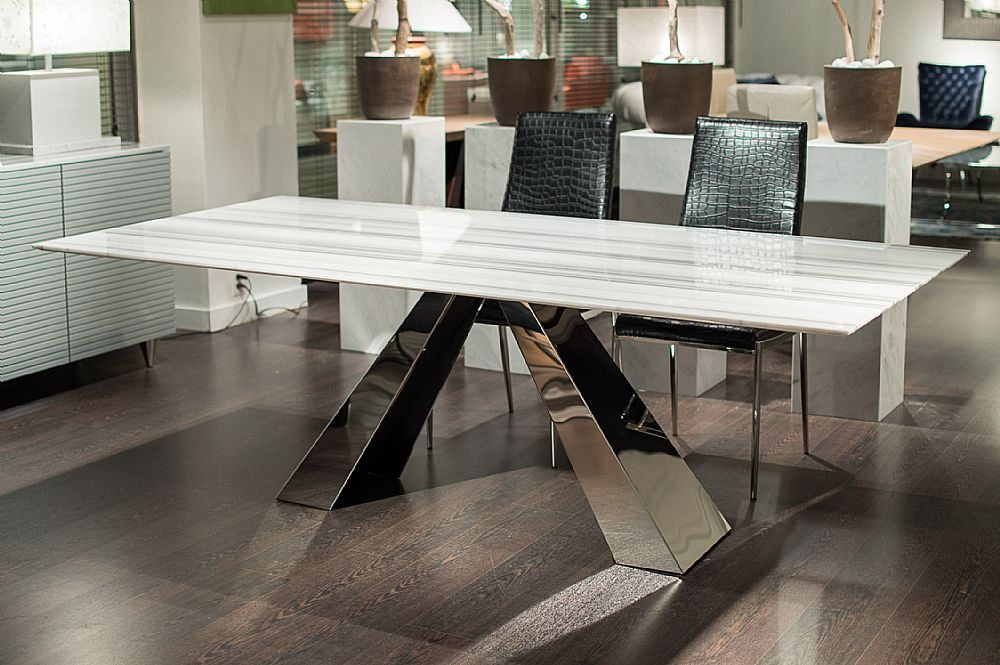 Superbe Stone International Butterfly Marble With Stainless Steel Base Rectangular Dining  Table