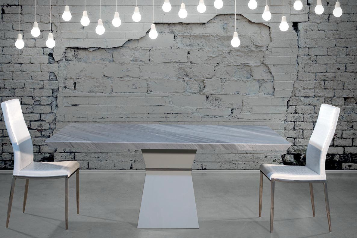Stone International Clepsy Plus Beveled Edge Marble with Polished Steel Dining Table