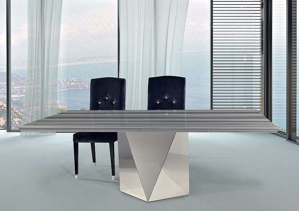 Stone International Freedom Beveled Edge Marble with Stainless Steel Base Rectangular Dining Table