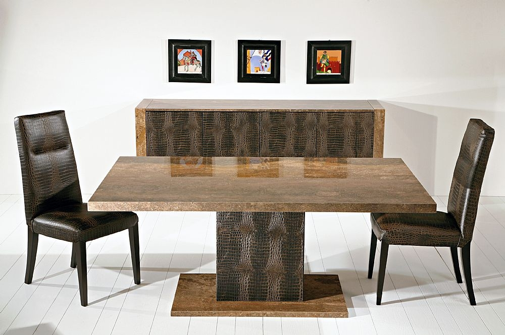 Stone International Venice Marble Dining Table with Leather Wrapped Pedastal