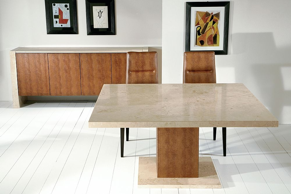 Stone International Venice Marble with Leather Wrapped Pedastal Square Dining Table