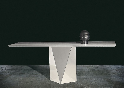 Stone International Freedom Marble Console Table with Stainless Steel Base
