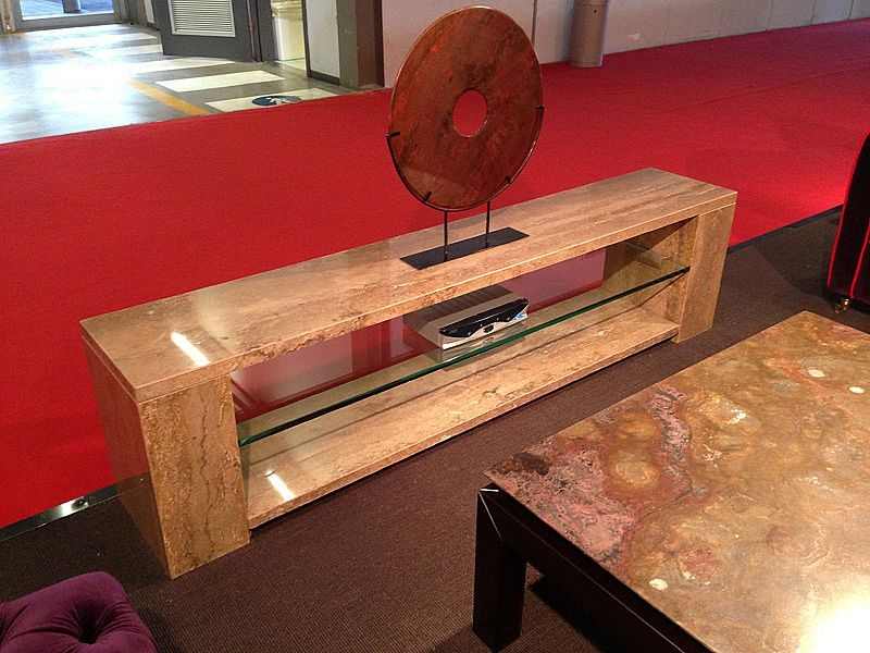 Stone International Marble TV Unit with Glass Shelf