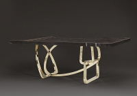 Stone International Tangle Boxed Edge Dining Table - Marble and Blond Brass