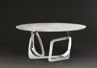 Stone International Tangle Slim Edge Marble Round Dining Table with Stainless Steel Base