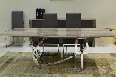 Stone International Tangle Dining Table - Marble and Blond Brass