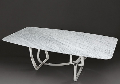 Stone International Tangle Slim Edge Marble Rectangular Dining Table with Stainless Steel Base