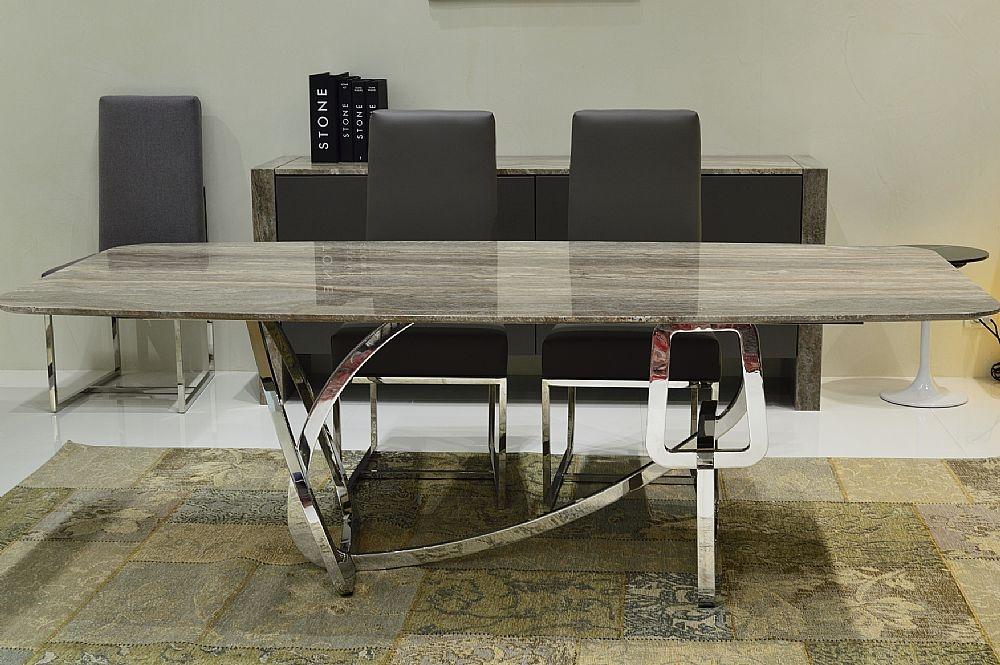 Stone International Tangle Slim Edge Marble Rectangular Dining Table with Blond Brass Base