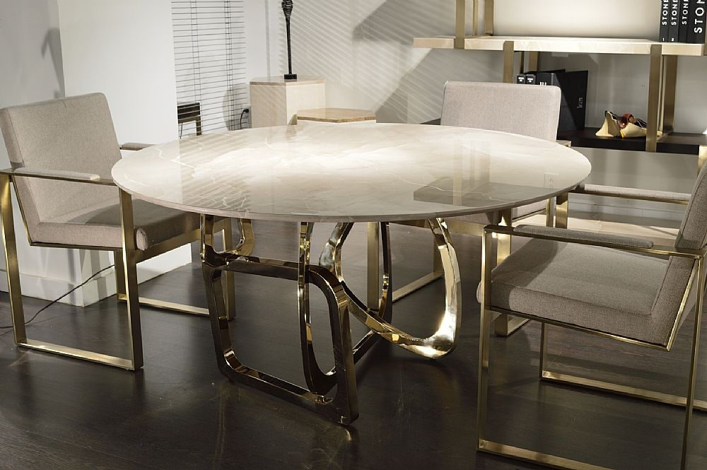 Stone International Tangle Slim Edge Marble Round Dining Table with Blond Brass Base