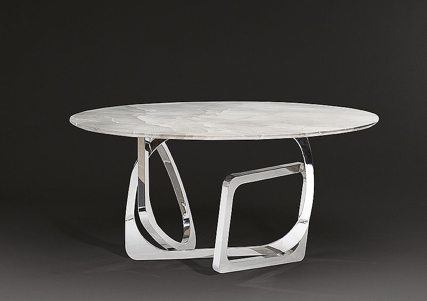 Stone International Tangle Round Dining Table - Marble and Stainless Steel