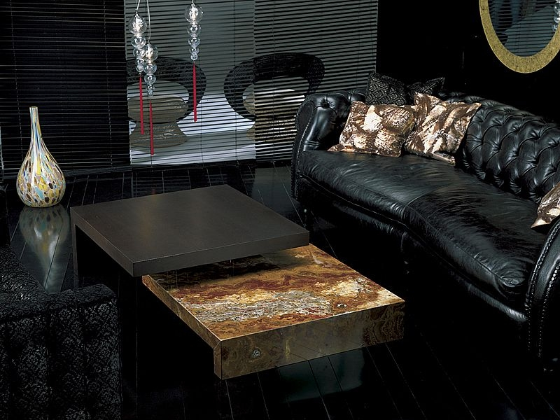Stone International Twin Square Coffee Table - Marble and Wenge Wood