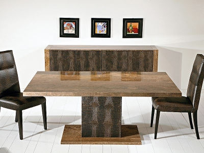 Stone International Venice Marble Square Dining Table with Leather Pedestal Base