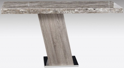 Stone International Vertigo Marble and Polished Stainless Steel Console Table