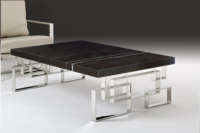 Stone International Windows Occasional Tables - Marble and Polished Stainless