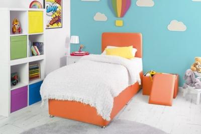 Starburst Orange Fabric Childrens Bed Base