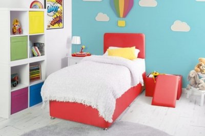 Starburst Red Fabric Childrens Bed Base