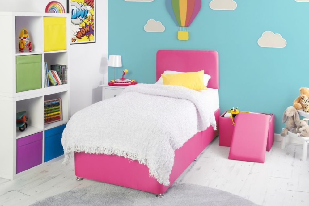 Starburst Cerise Fabric Childrens Bed Base