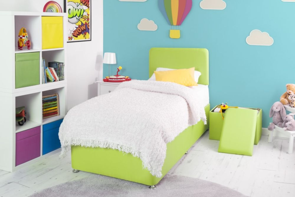 Starburst Lime Fabric Childrens Bed Base