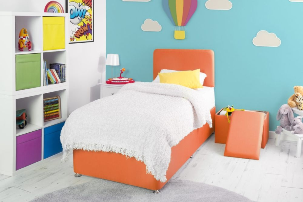Starburst Orange Fabric Childrens Bed Base