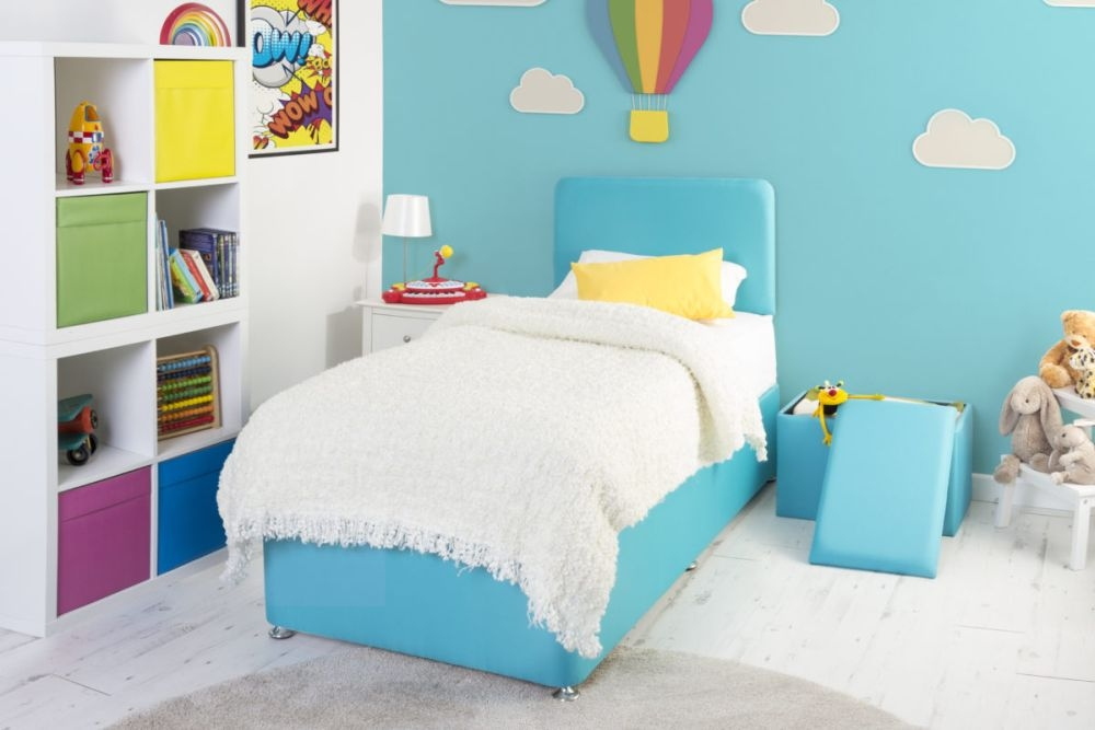 Starburst Turquoise Fabric Childrens Bed Base