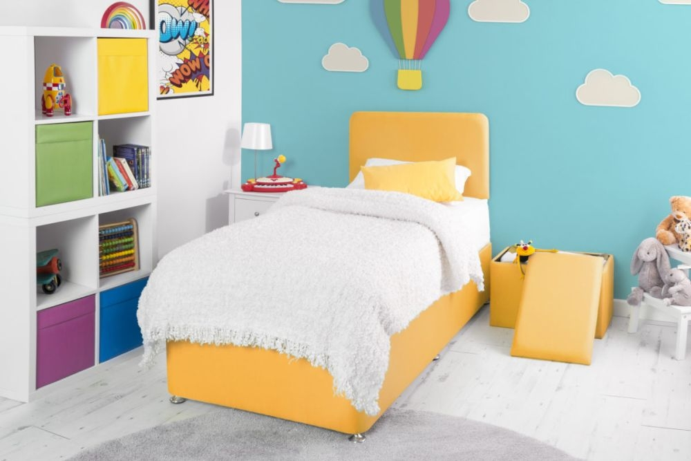 Starburst Yellow Fabric Childrens Bed Base