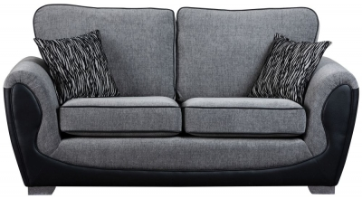Sweet Dreams Cassley 2.5 Seater Black and Silver Fabric Sofa