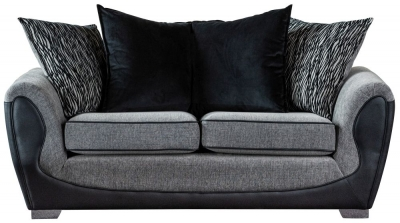 Sweet Dreams Cassley Scatterback 3 Seater Black and Silver Fabric Sofa