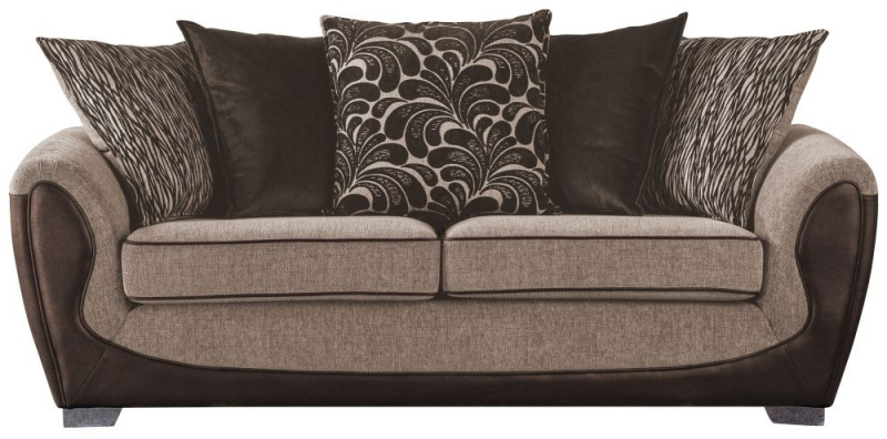 Sweet Dreams Cassley Scatterback 2.5 Seater Chocolate and Gold Fabric Sofa