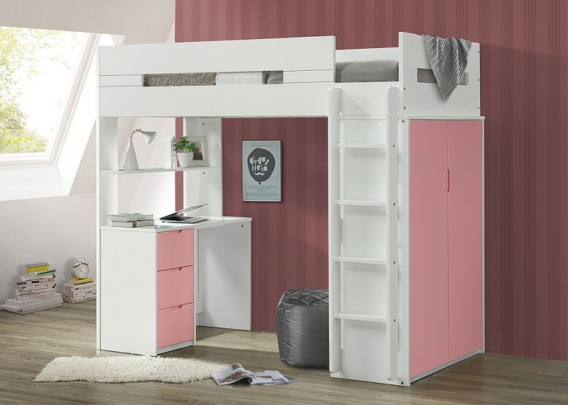 Sweet Dreams Lilo White and Pink Bunk Bed
