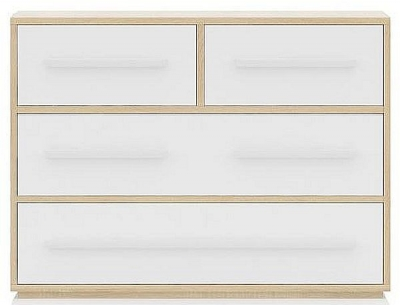 Sweet Dreams Curio Oak and White 2+2 Drawer Chest