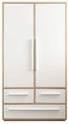 Sweet Dreams Curio Oak and White 2 Door 3 Drawer Wardrobe