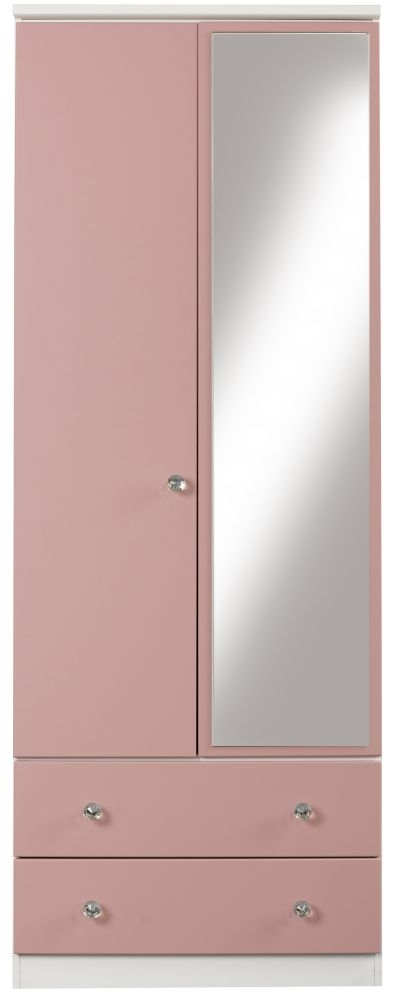 Sweet Dreams Dylan Pink and White 2 Door 1 Mirror Combi Wardrobe