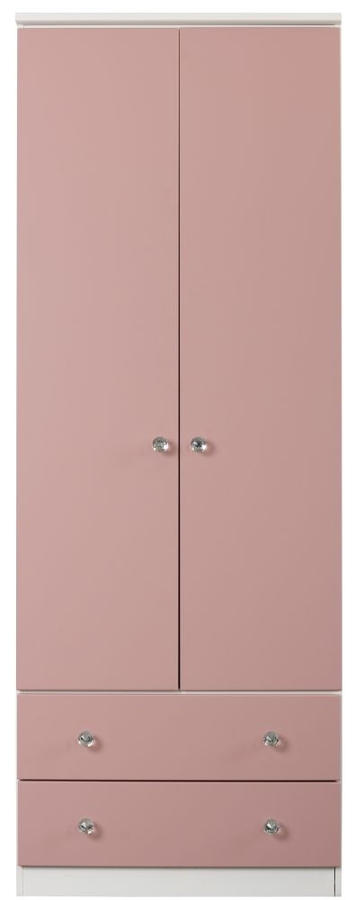 Sweet Dreams Dylan Pink and White 2 Door 2 Drawer Wardrobe