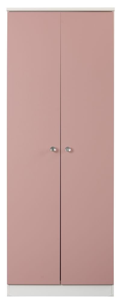 Sweet Dreams Dylan Pink and White 2 Door Wardrobe