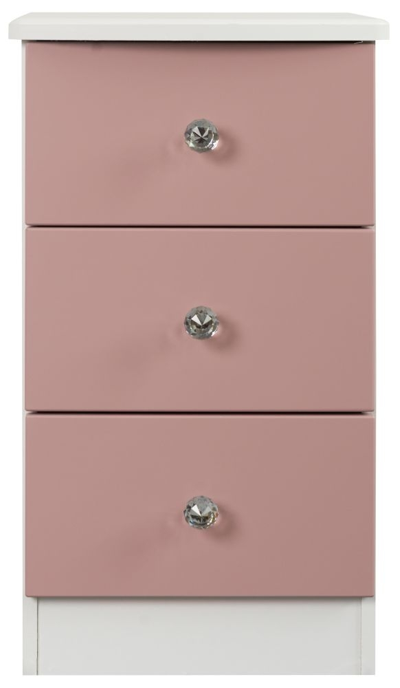 Sweet Dreams Dylan Pink and White 3 Drawer Bedside Cabinet