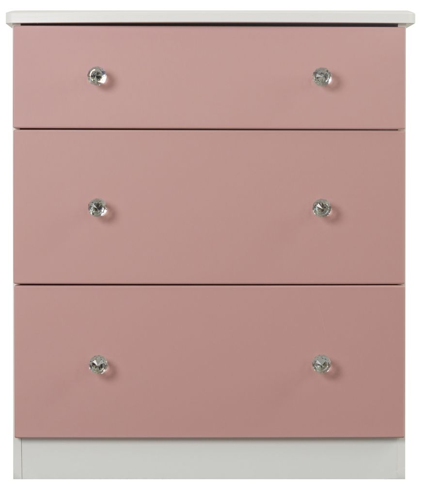Sweet Dreams Dylan Pink and White 3 Drawer Chest