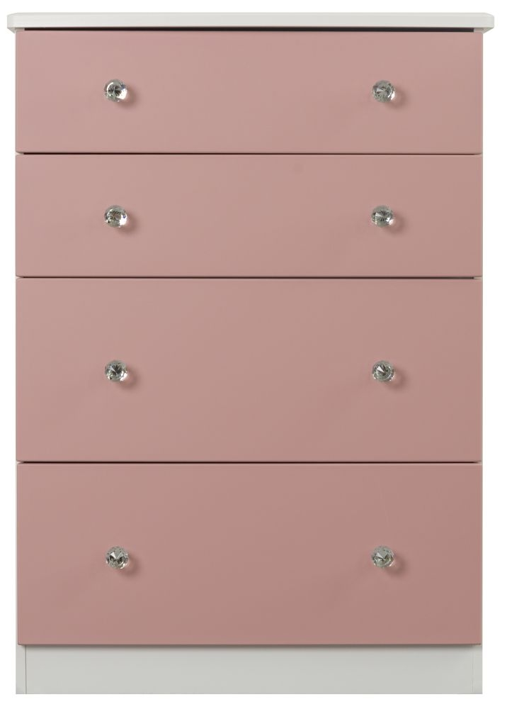 Sweet Dreams Dylan Pink and White 4 Drawer Chest