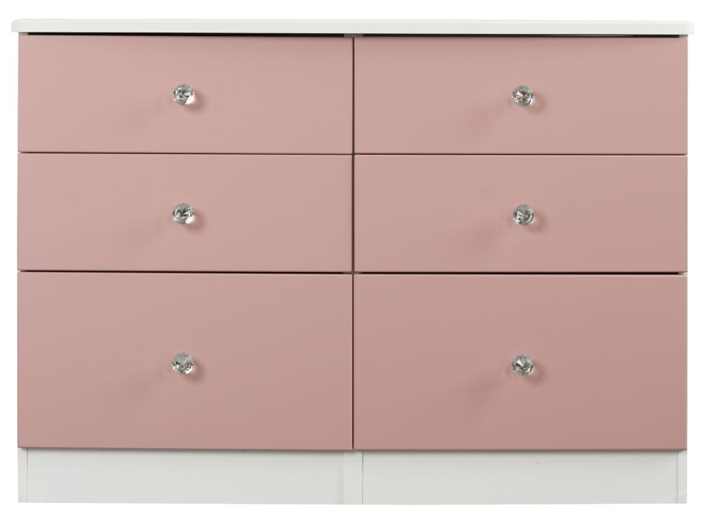 Sweet Dreams Dylan Pink and White 6 Drawer Chest