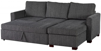 Sweet Dreams Medway Voghera Black Fabric Corner Sofabed with Storage