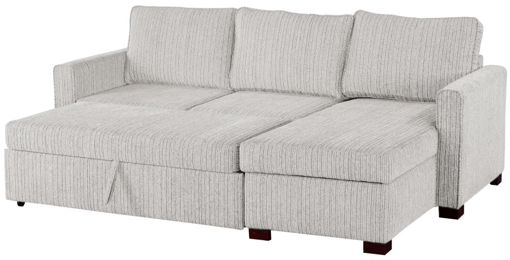 Sweet Dreams Medway Voghera Silver Fabric Corner Sofabed with Storage