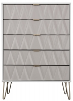 Sweet Dreams Jenson Grey and White 5 Drawer Chest
